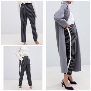 NWT ASOS Pinstriped Contrast Side Panel Ankle Pant